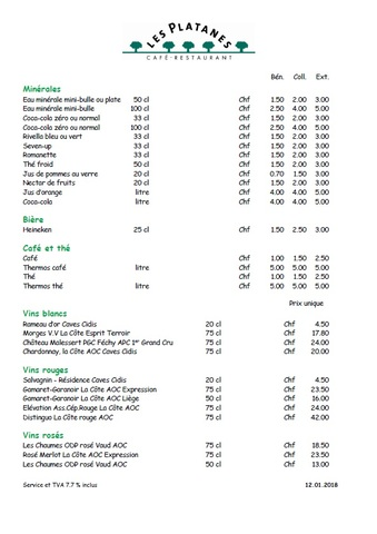 Carte Restaurant Boisson.L Esperance A Etoy Carte Des Boissons